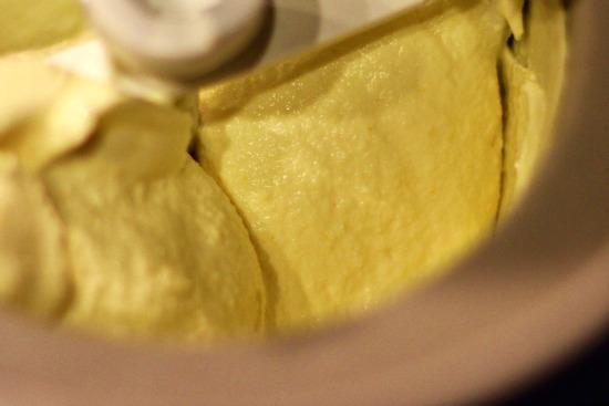 making homemade lemon ice cream