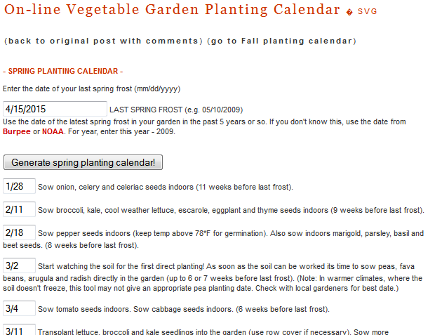 When to Start Seeds: On-line Vegetable Garden Planting Calendar
