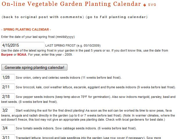 When to Start Seeds: On-line Vegetable Garden Planting Calendar