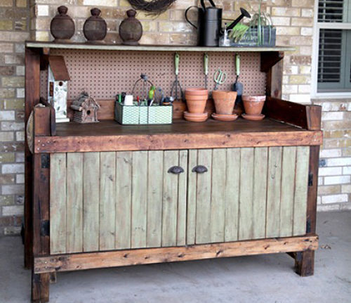 Potting Bench Made With Old Doors