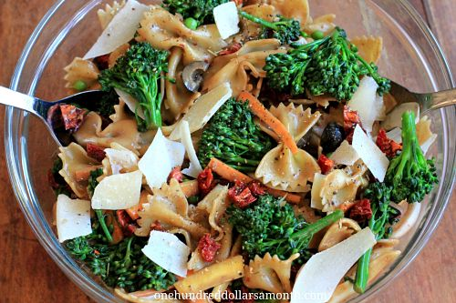 Summer Salad Recipe - Pasta Salad with Broccoli, Carrots, and Sun ...