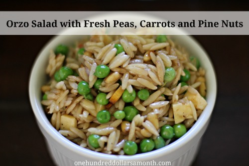 Orzo Salad with Fresh Peas, Carrots and Pine Nuts