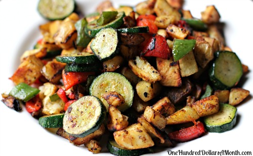 Easy Brunch Recipes - Fried Potatoes with Peppers and Zucchini