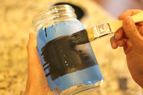 Easy kids crafts chalkboard paint jars for back to for How to paint glass jars