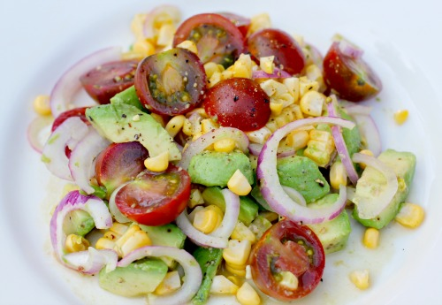 Easy Salad Recipes – Heirloom Tomato, Corn, and Avocado Salad