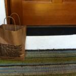 bag on doorstep