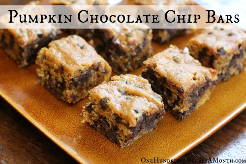 Easy Vegan Recipes - Pumpkin Chocolate Chip Bars