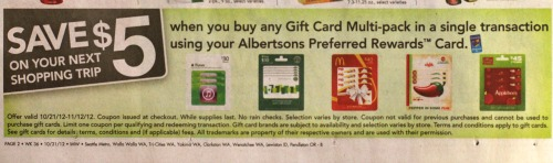 Albertsons – Buy $30 in iTunes Gift Cards Get a $5 Store Coupon!