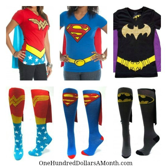 wonder woman super girl batman t shirts and socks