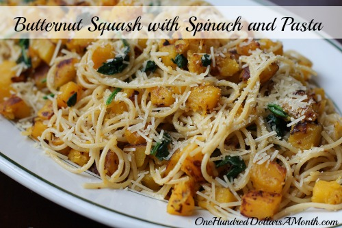 Butternut Squash Spinach and Pasta