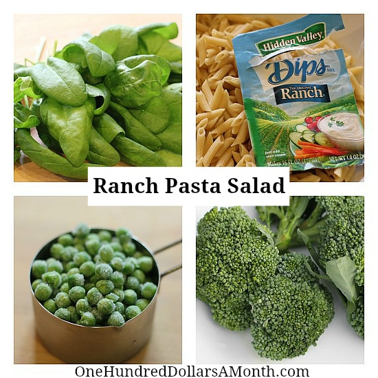 Ranch Pasta Salad with Broccoli, Spinach and Green Peas