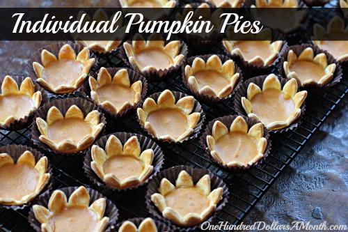 Thanksgiving Dessert recipes Individual Pumpkin Pies