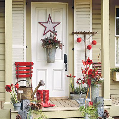 Environmental designer home furniture how to decorate for Easy front porch christmas decorations