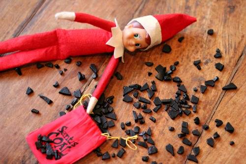 elf on the shelf coal in stocking