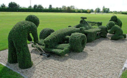 race car Topiary Art designs