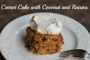 Carrot Cake with Coconut and Raisins recipe