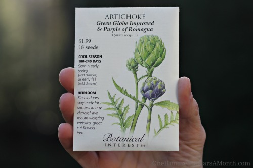 artichoke seed packet botanical interests