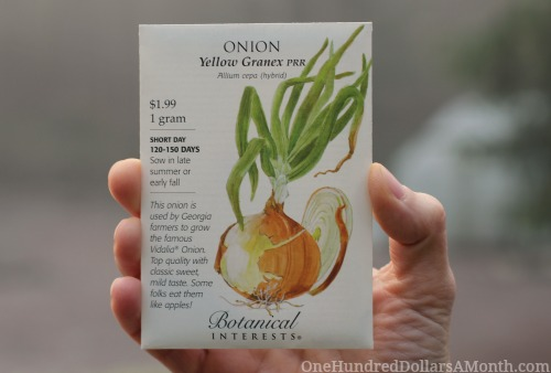 botanical interests seed packets yellow granex onion