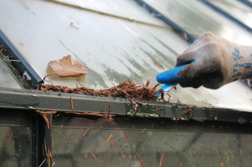 cleaning gutters