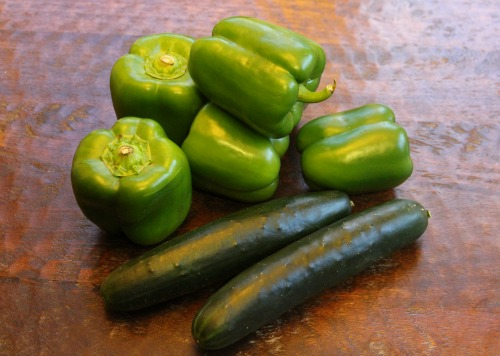 cucumber and green peppers