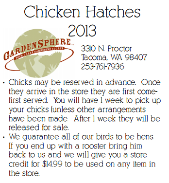 Garden Sphere | Tacoma, Washington – Reserve Your Chicks Now!