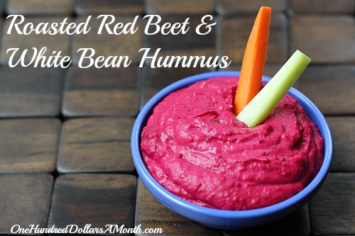 Easy Appetizers – Roasted Red Beet & White Bean Hummus