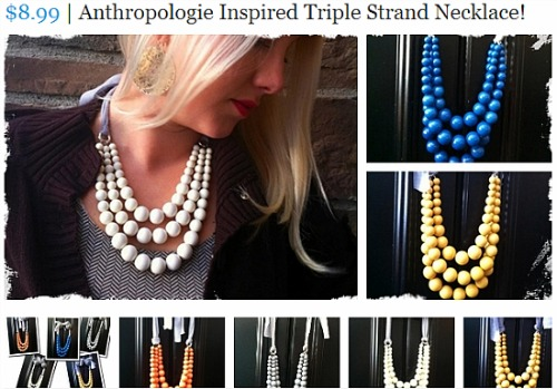 triple strand necklace