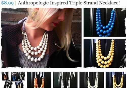 triple strand necklace