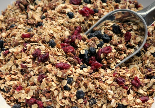 Homemade Granola with Blueberries, Cranberries and Ginger