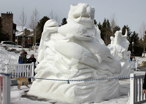 dolphin Snow sculpture