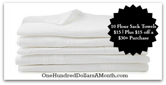 {Gone} 10 Flour Sack Towels $15 | Plus $15 off a $30+ Purchase