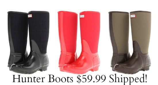 hunter boots pink brown black