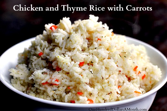 Chicken and Thyme Rice with Carrots : It gives that plain ol rice side ...