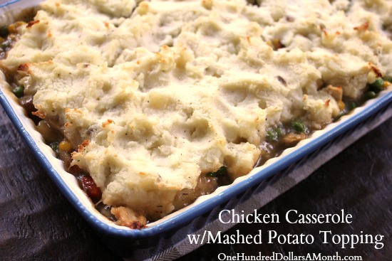 Chicken Casserole with Mashed Potato Topping