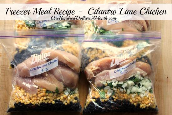 Freezer Meal Recipe –  Cilantro Lime Chicken