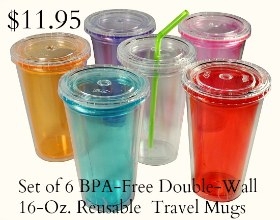 Set of 6 BPA-Free Double-Wall 16-Ounce