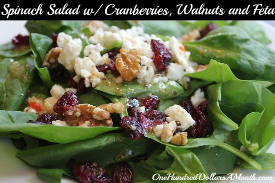 Spinach Salad with Cranberries, Walnuts and Feta