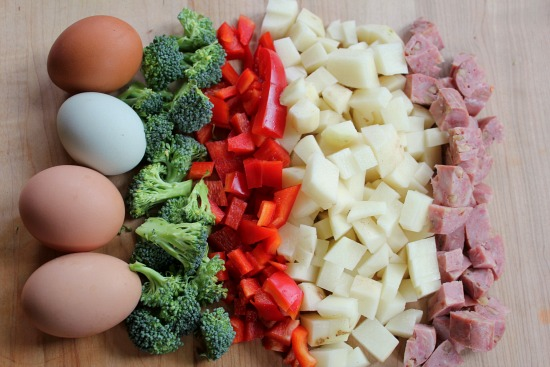 eggs broccoli red peppers potatoes sausage