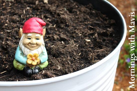 garden gnome sitting