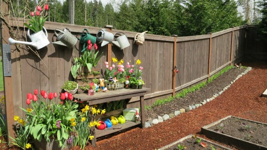 potting bench with flowers