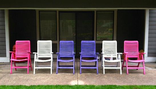 spray painted deck garden chairs