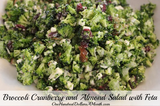 Broccoli Cranberry and Almond Salad with Feta