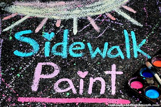 DIY Sidewalk  paint for kids