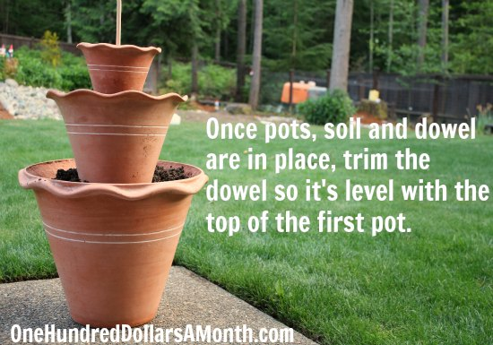 DIY Stacked Terra Cotta Planter How To