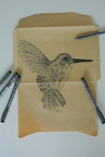 charocal bird drawing