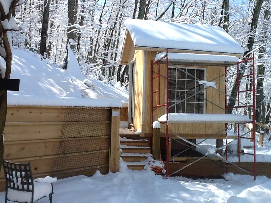 chicken coop with snow