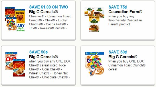 coupons for cereal