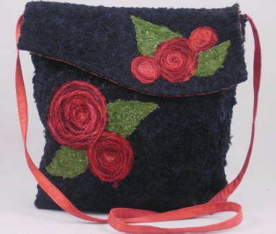 fiber art black bag with red roses