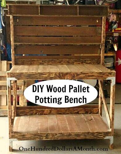 Diy Recycled Wood Pallet Potting Bench And Tool Holder