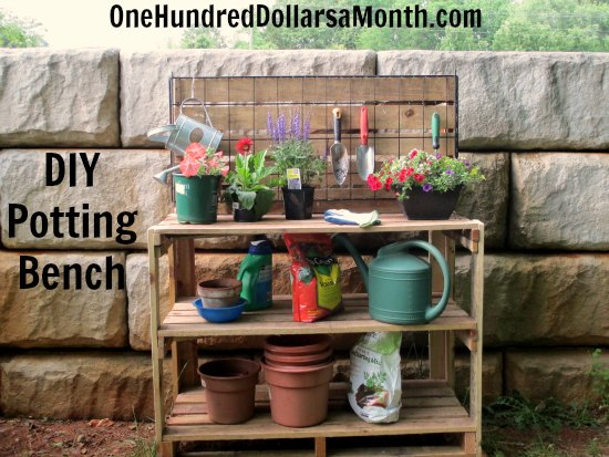 Potting Bench Made from an Old Wooden Rack